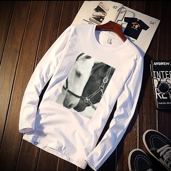 New Long Sleeve T Shirt Unisex Black And White Horse Nordic Print 100% Cotton Top Tee Casual O Neck Streetwear Clothing casual glasses print tee in white