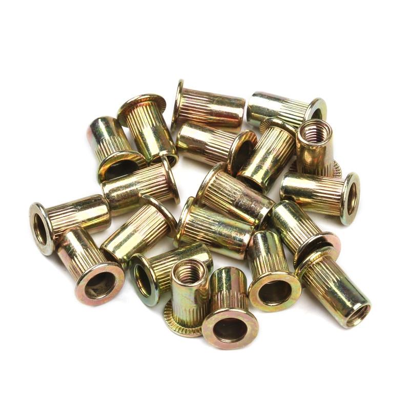 10PCS/set Carbon Steel Rivet Nuts M3 M4 M5 M6 M8 M10 Multi Size Flat Head Rivet Nuts Set Nuts Insert Rivet Tool