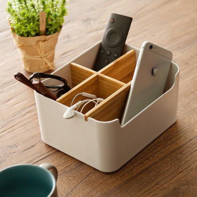 ZEN'S BAMBOE Organizer Eenvoudige Stijl Wit Container 5 Vakken Make Opbergdoos