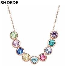 SHDEDE австрийский кристалл от Swarovski женское ожерелье с подвеской высокое качество Стразы колье винтажное модное ювелирное изделие-5182