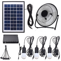 NEW Solar Power Panel Charging DC USB LED Light Lamp Fan Kit For Home Outdoor Camping