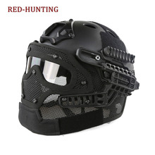 Top Multicam Tactical Hunting Helmet Full Face Protective Mask Goggles G4 System Airsoft Paintball Camo Helmet for Outdoor