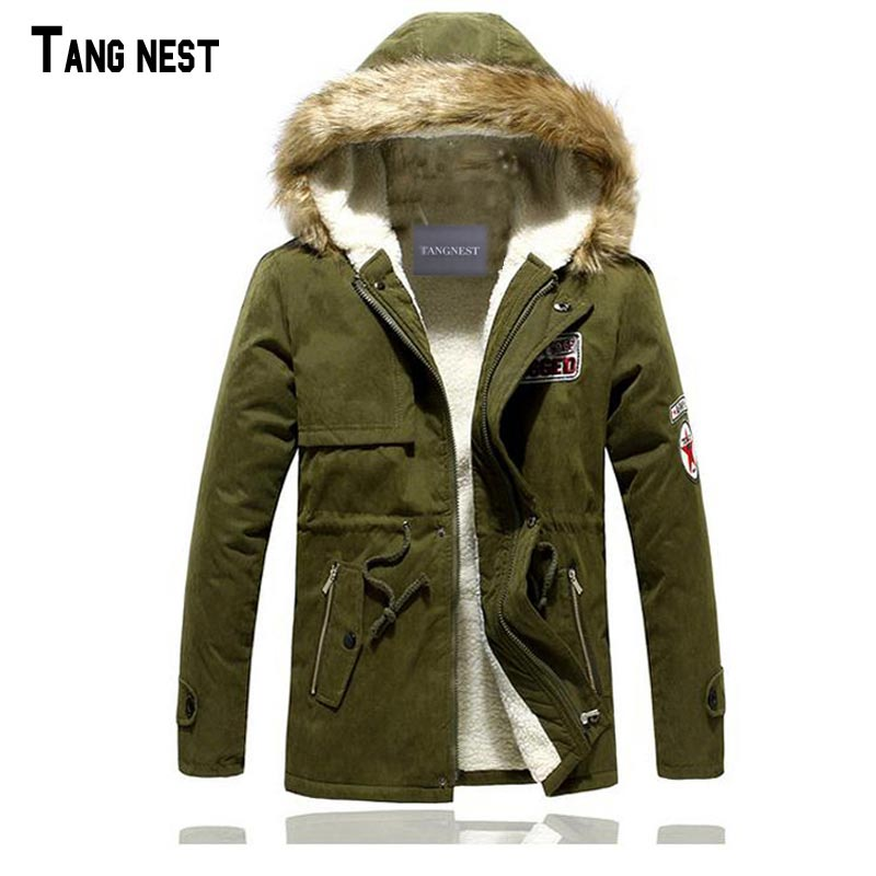 TANGNEST Male Coat Hooded 2017 Men's Warm Korean Style Padded Jacket Male Hooded Casual Winter&Autumn Coats M-3XL MWM495