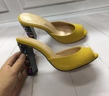 Women Sexy peep toe high heel slippers Fashion diamonds Slides shoes Chic sexy&club EU35-41 size BY434