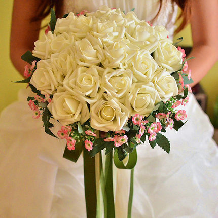 Artificial Silk Wedding Bouquets For Bride Hand Holding Flowers