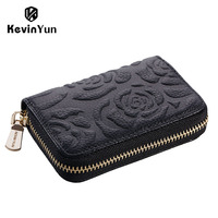 Fashion Flower Women Card Holder Genuine Leather Credit Cards Case Designer Brand ID Card Storage Bag
