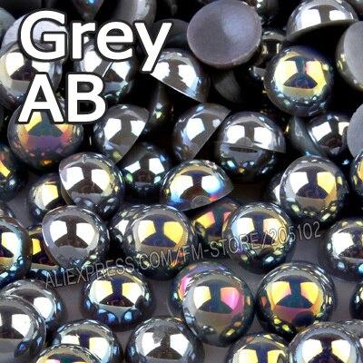 Серый ab Половина круглые бусины Mix Размеры 2 мм 3 мм 4 мм 5 мм 6 мм 8 мм 12 мм имитация ABS плоской задней жемчуг для DIY Дизайн ногтей ювелирных аксессуаров
