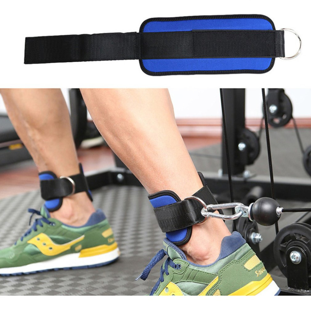 2018 Fitness D-ring Ankle Strap Buckle Body Building Resistance Band Gym Thigh Leg Ankle Cuffs Power Weight Lifting Fitness Rope