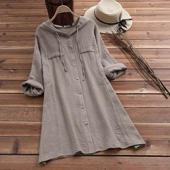 Plus Size Linen Shirt Women Summer Autumn Blouse 2020 ZANZEA Long Sleeve Chemise Female Button Asymmetrical Blusas Hooded Tunic цена 2017