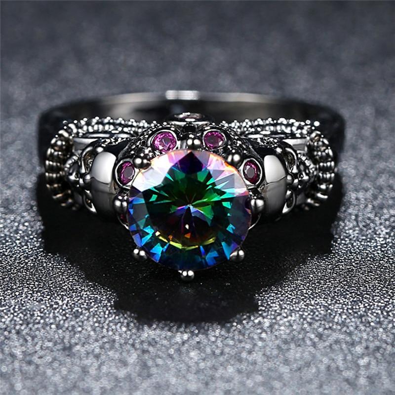 Black or Rainbow Zircon Skull Ring