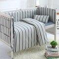 4/5 pcs/juegos de algodón lavado baby bedding sets bebé parachoques hoja de cuna cama alrededor azul blanco rayado personalizable soft bedding
