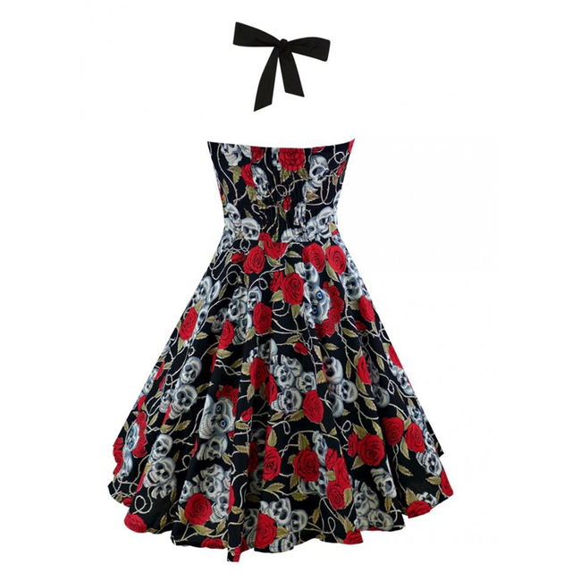 OTEN 2017 Summer Vintage Retro Skull Rose Floral Printed Rockabilly Skater pin up swing dress Plus size 4XL 5XL vestido de festa 1