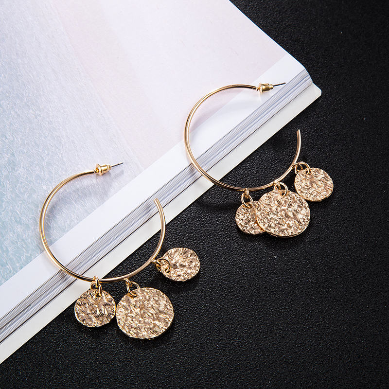 Tocona New Arrival Punk Big Round Shape Design Geometric Pendant Earrings For Women Female Gold Color Jewelry Accessories 3537 8