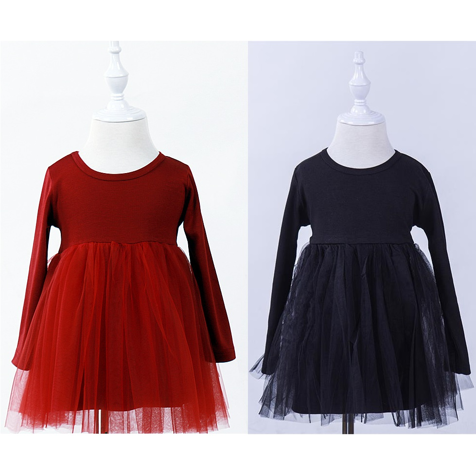 Pure Solid Baby Girls Dress Lace Ball Gown For Girl Tutu Dresses Children Clothes Long Sleeve Toddler Jumpers Princess Outfits