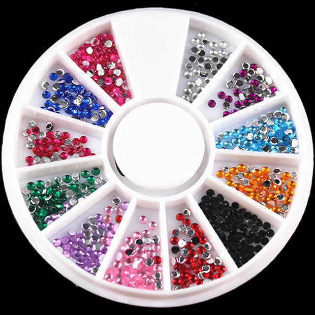 1 Box Small circle Glitter Rhinestones Crystal AB Non Fix FlatBack Strass Sewing Fabric Garment Rhinestone Nail Art Stone