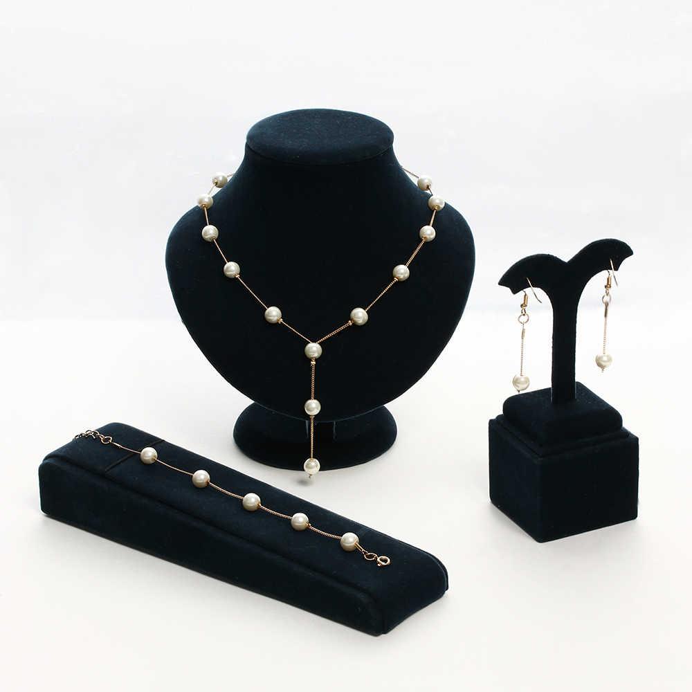 1 ensemble élégant Imitation perles collier pour femmes mariage or-couleur cristal boucles d'oreilles collier mode Bracelet ensembles de bijoux