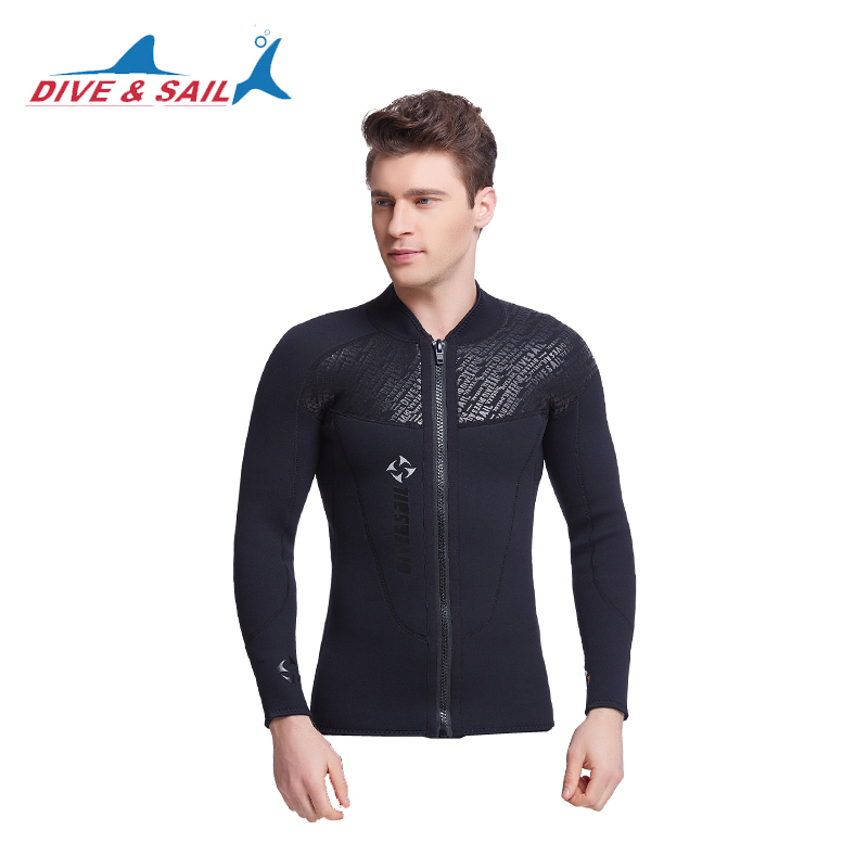 3MM neoprenowy kombinezon z długim rękawem dla mężczyzn Wetsuit Scuba Dive Jacket Wet Suit Top Winter Swim Warm Surf UpstreamDiving