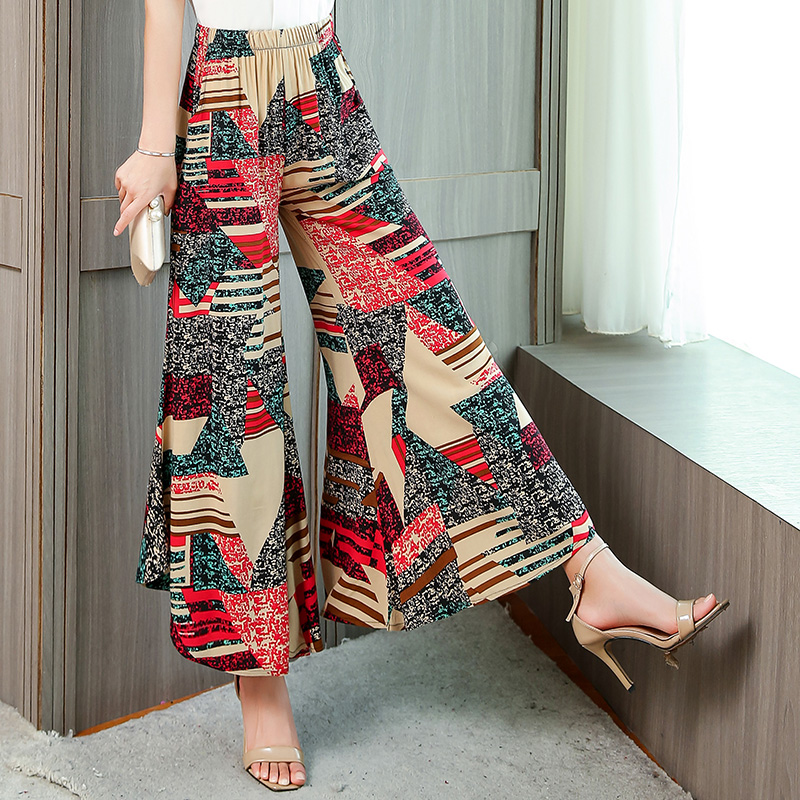 Women's Summer   Wide     Leg     Pants   Casual Retro Print Bohemian High Waist   Wide     Legs   Trousers Beach Holiday   Pants