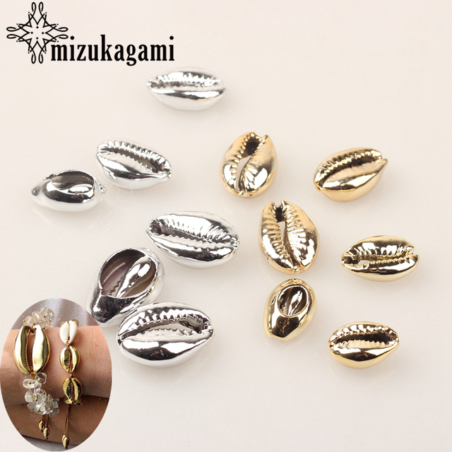 Natural Cowrie Shells Connect Charms Beads 10pcs/lot Golden Silver Plating For DIY Bohemia Jewelry Bracelet Making Accessories