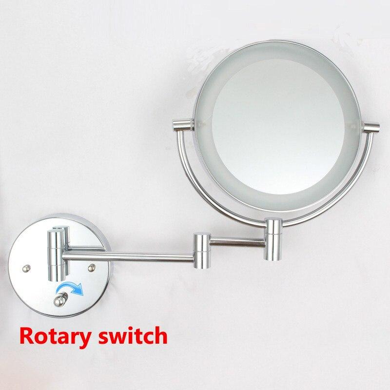 Gulun Ванна настенное зеркало для макияжа со светодиодными огнями и 10X увеличительное двойное протягивать руку складное зеркало для бритья дв... - 4