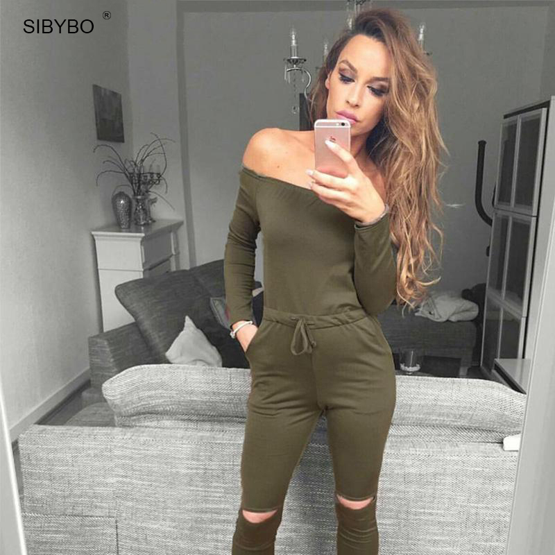 850a3367ab Sibybo 6 Color New Rompers Womens Jumpsuit 2018 Sexy Off Shoulder Long  Sleeve Autumn Elegant Bodycon Bodysuit Bandage Jumpsuits-in Jumpsuits from  Women s ...