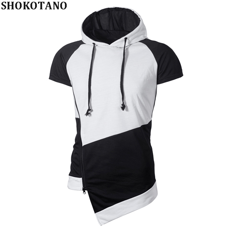 SHOKOTANO Mans Short Sleeve Hoodie Slim Fit Patchwork Hooded For Men Casual Hip Hop Hipster Zip Design Streetwear Homme Tops T