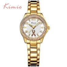 KIMIO Relojes de Las Mujeres de Oro de Lujo de Negocios relojes mujer 2016 Nuevo Diseño de Cristal de Diamante Reloj de Señoras Vestido de Regalo relogio feminino