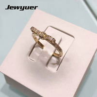 14K Solid Gold Parking Bow Rings For Women Engagement Wedding Ring Anillos Spring Collection Golden Bow