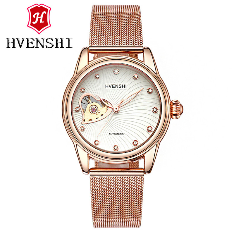 HVENSHI Horloge dames Automatic Waterproof Top Brand Mechanische horloges Full Stainless steel Rose Gold Clocks Elegant dameshorloge