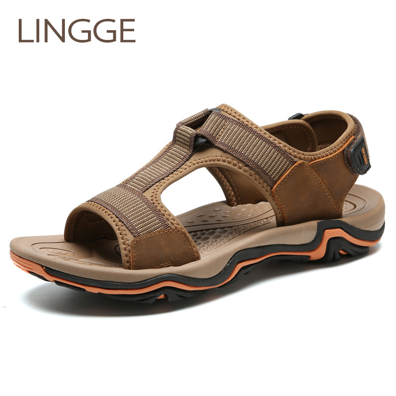 LINGGE New Arrival Brand Mens Sandals Genuine Leather Men Summer Shoes Leisure Beach Sandals Breathable Men Show Big Size 38-45