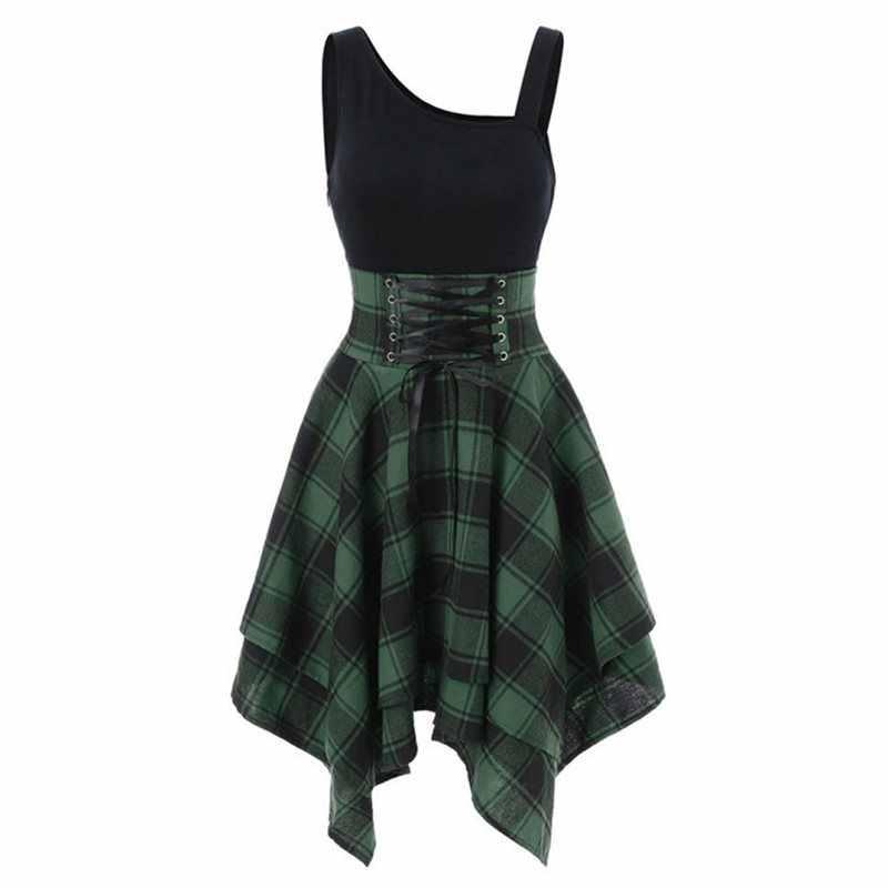 Летнее сексуальное Клубное красное элегантное готическое женское платье средней длины большого размера зеленое алиновое клетчатое платье на шнуровке синее женское готическое модное платье