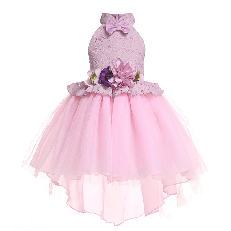 2018 Baby birthday party princess bow lace   girl     dress   wedding formal   flower     girl     dress   baby   girl     dress   children tutu clothing