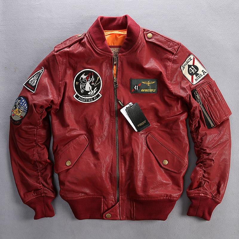 Avirex fly flight jacket men plant tranned goatskin badge pilot leather bomber jacket red genuine leather jacket coat men XXXL