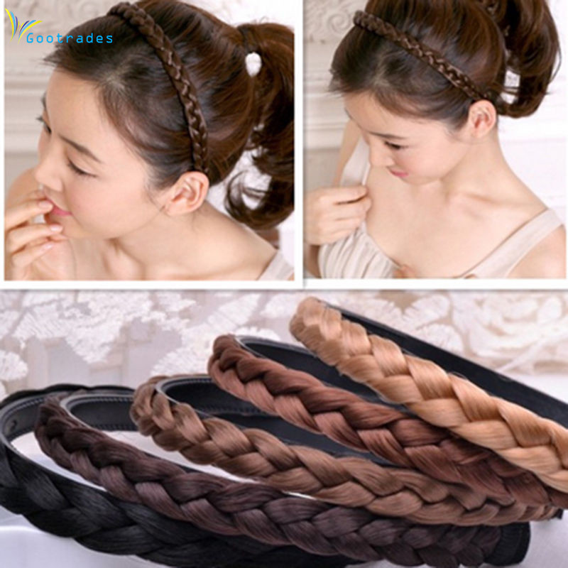 1PC Headband For Women Wedding Hair Bands Hairband Plaited Braided Hair Accessories 2017 Twisted Wig Braid Hairband Colorful fishtail braid with hair accessory