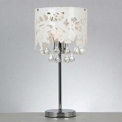 Nowoczesny biały Hollow akrylowe kropla wody kryształ lampy stołowe sypialnia Bedsides chromowana podstawa salon biurko światła|desk light|light desklight table -