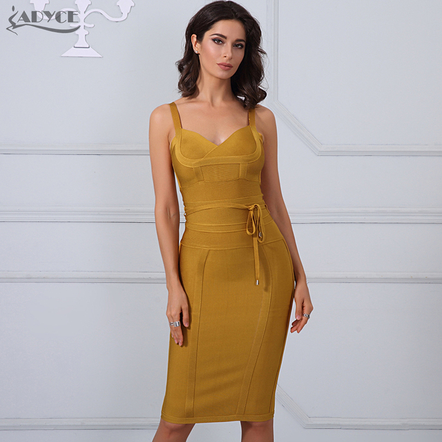 Adyce Chic Spring Bandage Dress 2018 Sexy Celebrity Party Dress Women Spaghetti Strap Night Out Bodycon Dress Vestidos