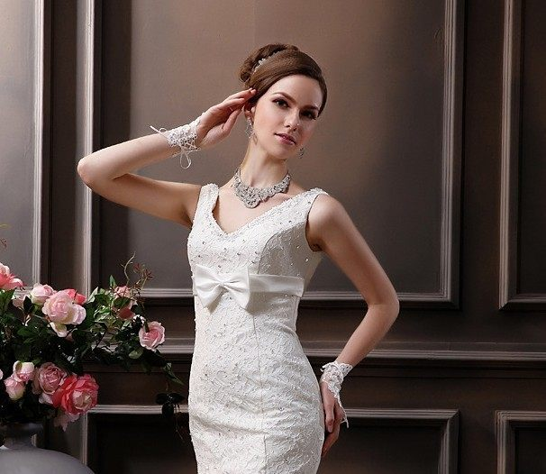 Online Shop Favordear Tulle White Ivory Lace Bridal Gloves Wrist ...