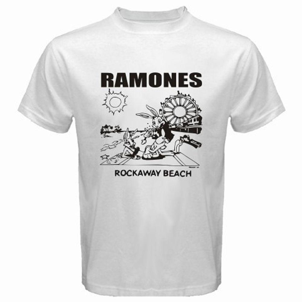 Good quality black t shirt - Custom Made Good Quality T Shirt Gildan Crew Neck The Ramones Rockaway Beach Rock Band Legend