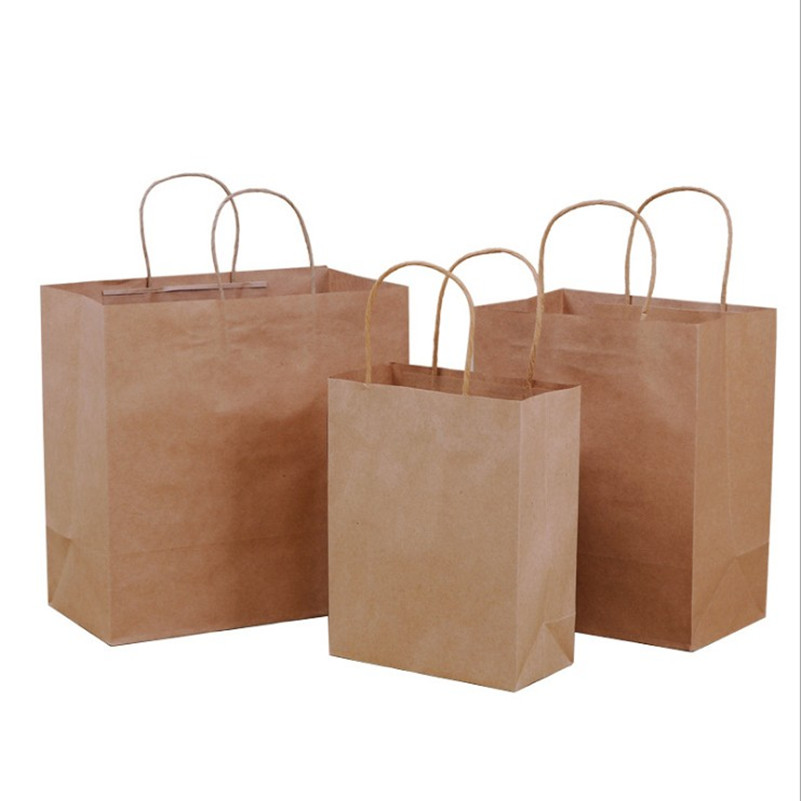 10 Pcs/lot Big Kraft Paper Bag With Handles Recyclable Bag For Fashionable Clothes Shoes Gift Shops 3 Size Cowhide Color