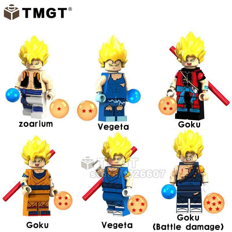 50Pcs Lot Wholesale Trunks Zoarium Vegeta Goku Damage Goku Dragon Ball Z Bricks Building Blocks Gifts