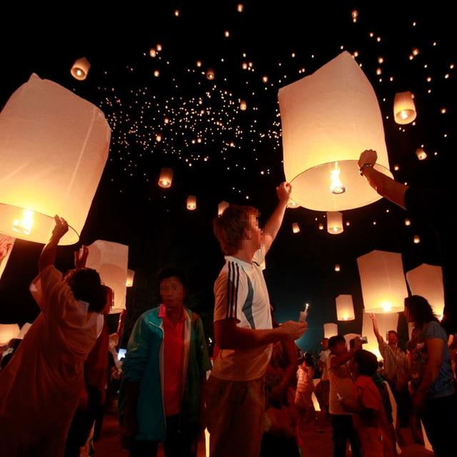10pcs Chinese Wishing Lamps Round Paper Kongming Flying Lanterns ...