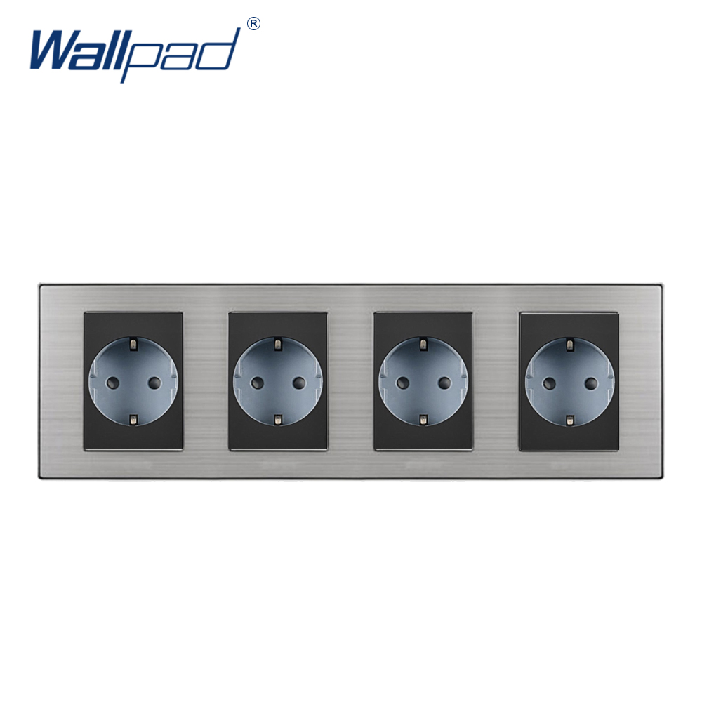 2018 Wallpad Hot Sale 4 EU Socket Schuko Luxury Wall Electric 4 Power Outlet German Standard 16A AC110~250V 308*86mm Quad Frame new arrival wallpad brown leather frame 110v 250v hotel 3 pin 16a australia new zealand air condition electric socket free ship