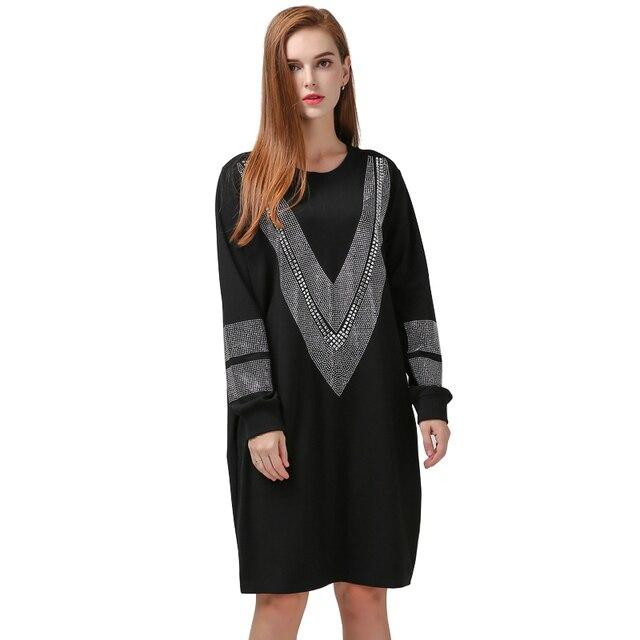 [TWOTWINSTYLE] 2017 Осень С Длинным Рукавом Свободные Dress Женщины V Рисунок Сверкающий Бриллиант Черный Цвет Новая Мода Одежда