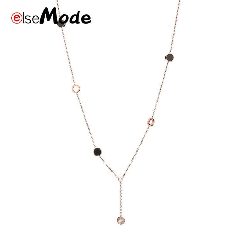 2018 Women's Fashion Stainless Steel Jewelry Colar European Simple Rose Gold Silver Coin Necklace Clavicle Chain