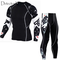 Detector Mens Compression Shirt Pants Set Running Tights Workout Fitness Training Tracksuit Long Sleeves Shirts Sport