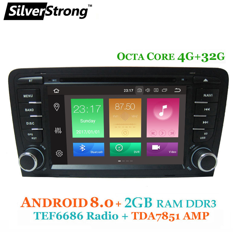 SilverStrong 6686 radio Android 8.0 Voiture 2 DIN DVD Pour Audi A3 2003 2004-2011 voiture dvd gps pour audi avec DAB, TPMS, DVR