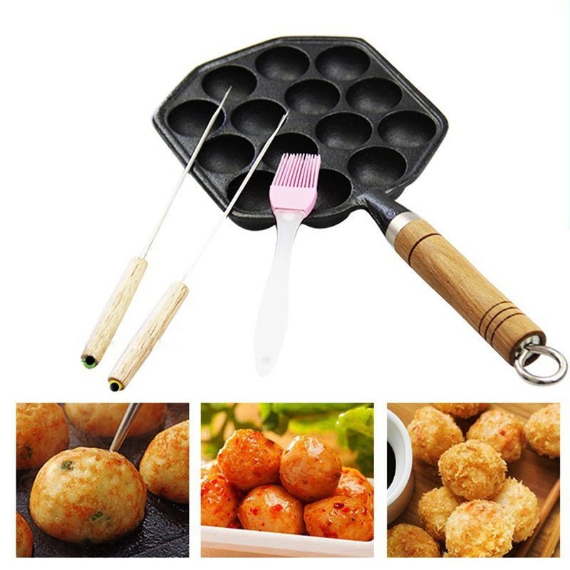 14 Hole Professional Octopus Ball Meatball Maker Uncoated Cast Iron Takoyaki Grill Plate Nonstick Chibi Maruko Mold Pan Bakeware