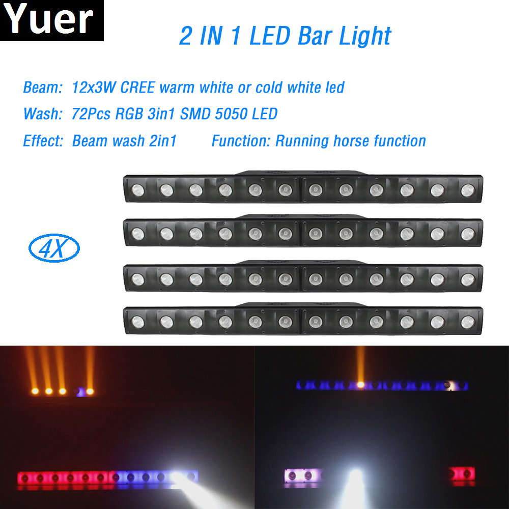 4Pcs/Lot 12x3W LED Bar Light LED 72pcs RGB 3 IN 1 SMD Wall Washer lights Wash Wall bar d ...