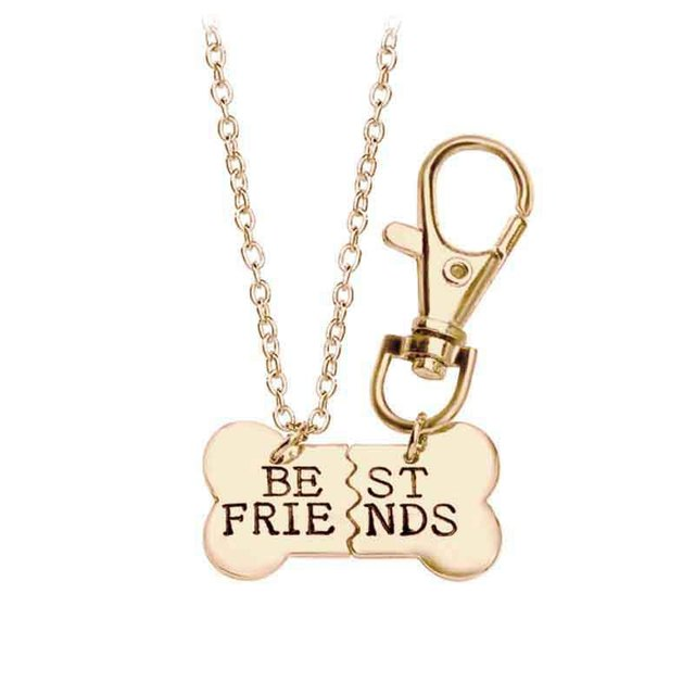 2017 fashion 2 pieces of gold and silver dog bone pendant best 2017 fashion 2 pieces of gold and silver dog bone pendant best friends necklace keychain a aloadofball Images