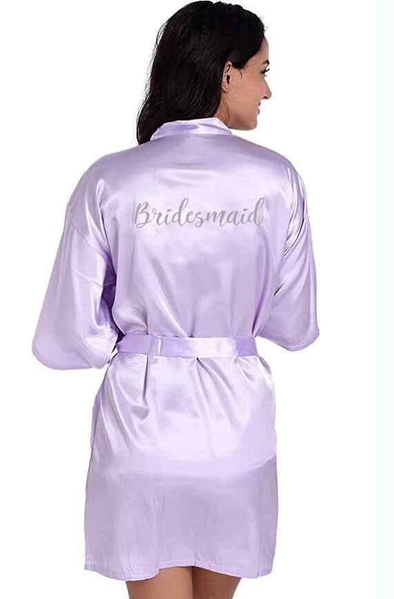RB71 ファッブライダルパーティーローブの手紙花嫁にローブバック女性ショートサテン結婚式の着物パジャマスパのための女性